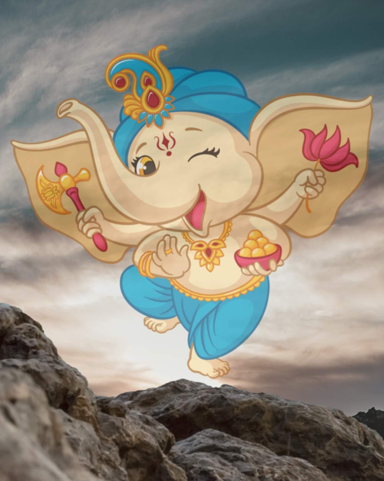 Ganesh cartoon background || bal ganesh editing background