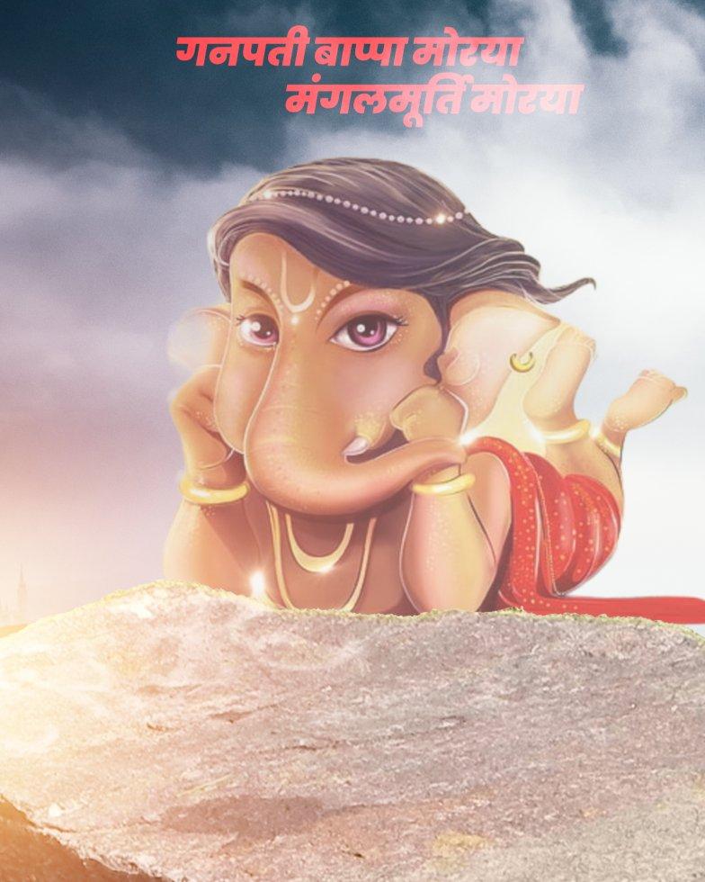 Little Ganesh chaturthi cartoon characters background_Ganpati Cartoon character background